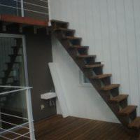 ウッドデッキ階段工事