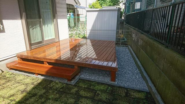 鎌倉市のイタウバウッドデッキ施工