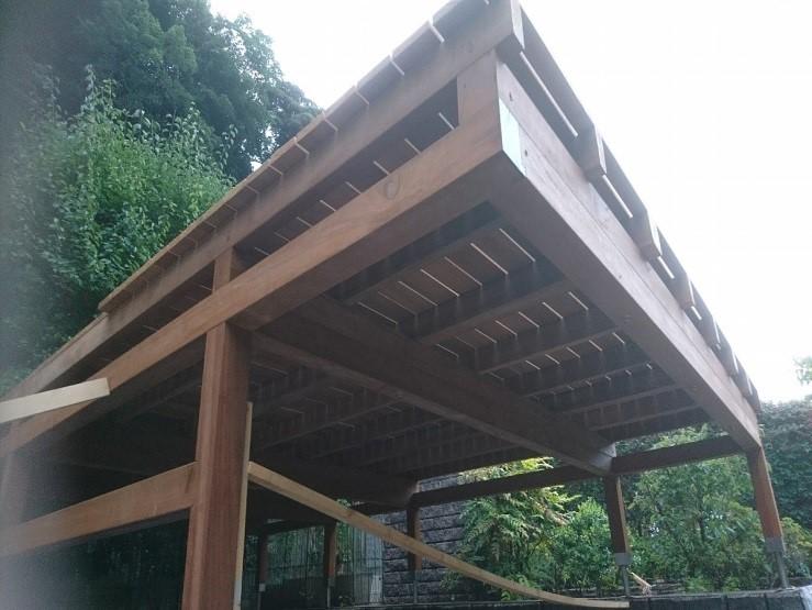 鎌倉市のウッドカーポートデッキ